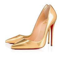 Christian&Louboutin Women's Gold Shoes With So Kate Laminato Dino 120 mm 8 B(M) US