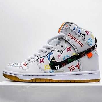 AIR JORDAN 1 x LV x Supreme joint classic sports and leisure basketball shoes