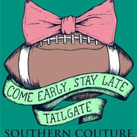 Southern Couture Football Bow Tailgate Come Early Stay Late Comfort Colors Seafoam Girlie Bright T Shirt