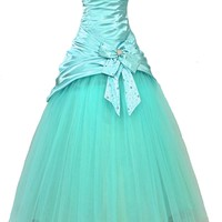 Faironly Aqua Strapless Prom Gown Formal Quinceanera Dress F8 (L)