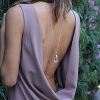 Amara Crystal Long Gold Chain Necklace