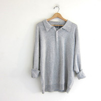 vintage long sleeve gray sweater top. button front henley. soft gray boyfriend sweater. size XL
