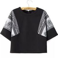 Black Short Sleeve Tribal Print Crop Top