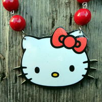 Hello Kitty Bib Necklace with Beads and Bow