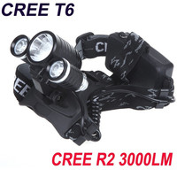 Camping 3000Lm 1*CREE T6 & 2*CREE R2 LED Rechargeable Headlamp Headlight + AC Charger (US Plug) in Night Walking or Cycling(Battery Not Included) H10249 = 1645830532