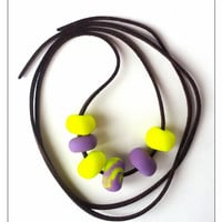 Miniature Purple/Yellow Bead Necklace, Polymer Clay Jewelry, December Gifts, Bead Jewelry, Stocking Stuffer, Gift For Mom, Gift For Twins