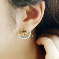 Galaxy Star with Moon Ear Jacket, Blue and Black Ear Cuff, Stud Earrings