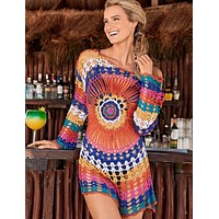 Handmade crocheted rainbow long-sleeved beach blouse Hollow loose bikini swimsuit outer blouse colorful