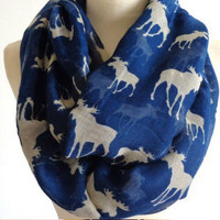 Fashion Moose Infinity Scarf Animal Scarf Small Scarves Loop Scarf in Tan Shawls