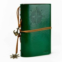 ZLYC Vintage String Mediterranean Style Anchor Loose-leaf Handmade Refillable PU Leather Journal Diary Notepad Notebook Green