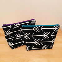 Large Zipper Pouch, Large Cosmetic Bag, Makeup Bag, Black and White Arrows