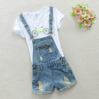 Waist Denim Overall Shorts