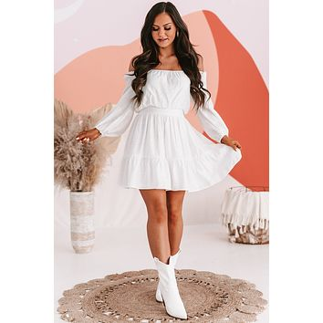 Angel In Disguise Peasant Sleeve Dress (Ivory)
