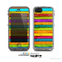 The Neon Wood Planks Skin for the Apple iPhone 5c LifeProof Case