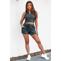 Slow Mornings Ribbed Tie Waist Shorts (Charcoal)