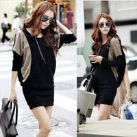 2013 plus size batwing sleeve slim knitted one-piece dress long-sleeve winter one-piece dress = 1946889220