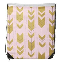Pink Gold Tribal Arrows Drawstring Backpack