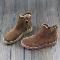 Women's Boots Winter Shoes 100% Genuine Leather Woman Ankle Boots Zip Slip on Female W