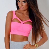 Litzy Neon Pink Cut Out Bodycon Bralet Top   Pink Boutique