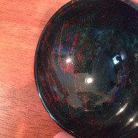"""Carved Bloodstone Gem Stone 3"""" Bowl - Reiki Healing, Offerings, Meditation or Wiccan Alter Tool for Energy Magick"""