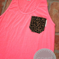 Neon Pink Tank with Leopard Print Fabric Pocket