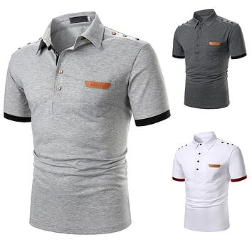 Men's Short Sleeve Solid Color Casual Shirts