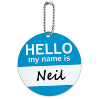 Neil Hello My Name Is Round ID Card Luggage Tag