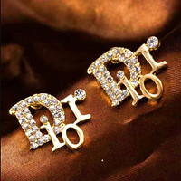 Dior Letter More Diamond Personality Earring Accessories