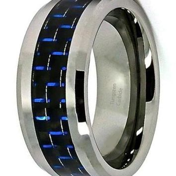 CERTIFIED 10mm Tungsten Carbide Black and Blue Carbon Fiber Men's Wedding Band