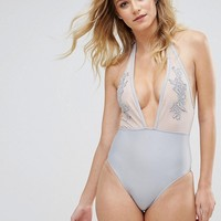 Peek & Beau Applique Plunge Swimsuit B-F Cup at asos.com