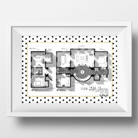 Gossip Girl Apartment Floor Plan - TV Show Floor Plan- Blair Waldorf Apartment Complete Plan/1136 Fifth Avenue/ Glam Poster