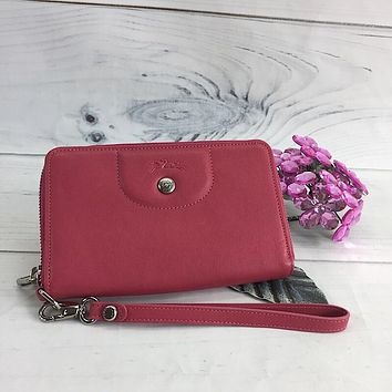 Longchamp Le Pliage Cuir Small Malabar Pink Leather Wrist Wallet