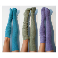 3pk Marled Cable Thigh High Socks, Multi Pack, Biscay Bay, Dried Herb, and Orchid