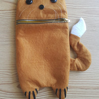 Yellow cute cat Zip Purse, Makeup Bag, Coin Purse, Small Accessory Pouch FREE SHİPPİNG