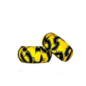 Yellow African Fabric Cover Wood Bracelet