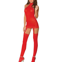 New Women Mesh Perspective Lace Splicing Bodycon Bodysuit Sexy Lingerie Body Stocking + G-String