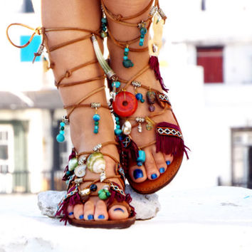 "One of a kind Sandals, Leather Sandals, Gladiator sandals, ""Me and my monkey"" Greek Sandals, burgundy Sandals, beaded sandals, boho sandals"