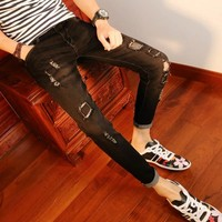 New arrival Spring autumn youth Ripped hole Skinny jeans men street wear stretch feet men students teenagers Ankle pencil pants