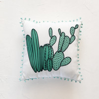 Cactus Green Throw Pillow
