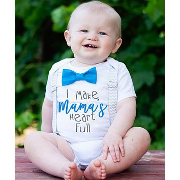 Mothers Day Outfit Baby Boy New Mom Gift Suspenders Bow Tie