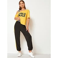 SHEIN Asymmetrical Neck Slogan Tee and Contrast Sideseam Pants Set