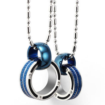 Gullei Trustmart : Beautiful blue connecting rings couple necklaces wedding gift [GTMCN036] - $27.00-Couple Gifts, Cool USB Drives, Stylish iPad/iPod/iPhone Cases & Home Decor Ideas