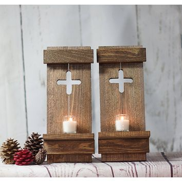 Wall Sconce Set, Rustic Wooden Cross