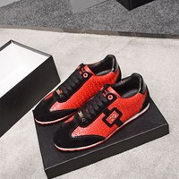 Dolce & Gabbana D&G Men Fashion Leather Casual Sports Shoes Sneakers Red