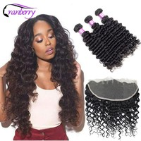 Cranberry 3 Bundles Brazilian Deep Wave Bundles With Frontal 13*4 Ear to Ear Lace Closure Remy Human Hair Bundles With Frontal