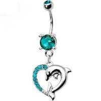Blue Zircon Cubic Zirconia Heart Dolphin Dangle Belly button Navel Ring 14 gauge