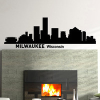 Wall Decals Vinyl Stickers Milwaukee Wisconsin City Skyline Silhouette Art Home Decor for Living Room C010