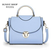 SUNNY SHOP  New Candy Color Fashion Women Shoulder Bags Lady Messenger Bags Brand Designer Crossbody Bag PU Leather Handbags