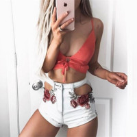 All-match Fashion Embroidery Roses Flower Pocket Hollow Denim Shorts Hot Pants Jeans