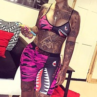 Summer New Fashion Shark Print Camouflage Leisure Straps Top And Shorts Two Piece Suit Women